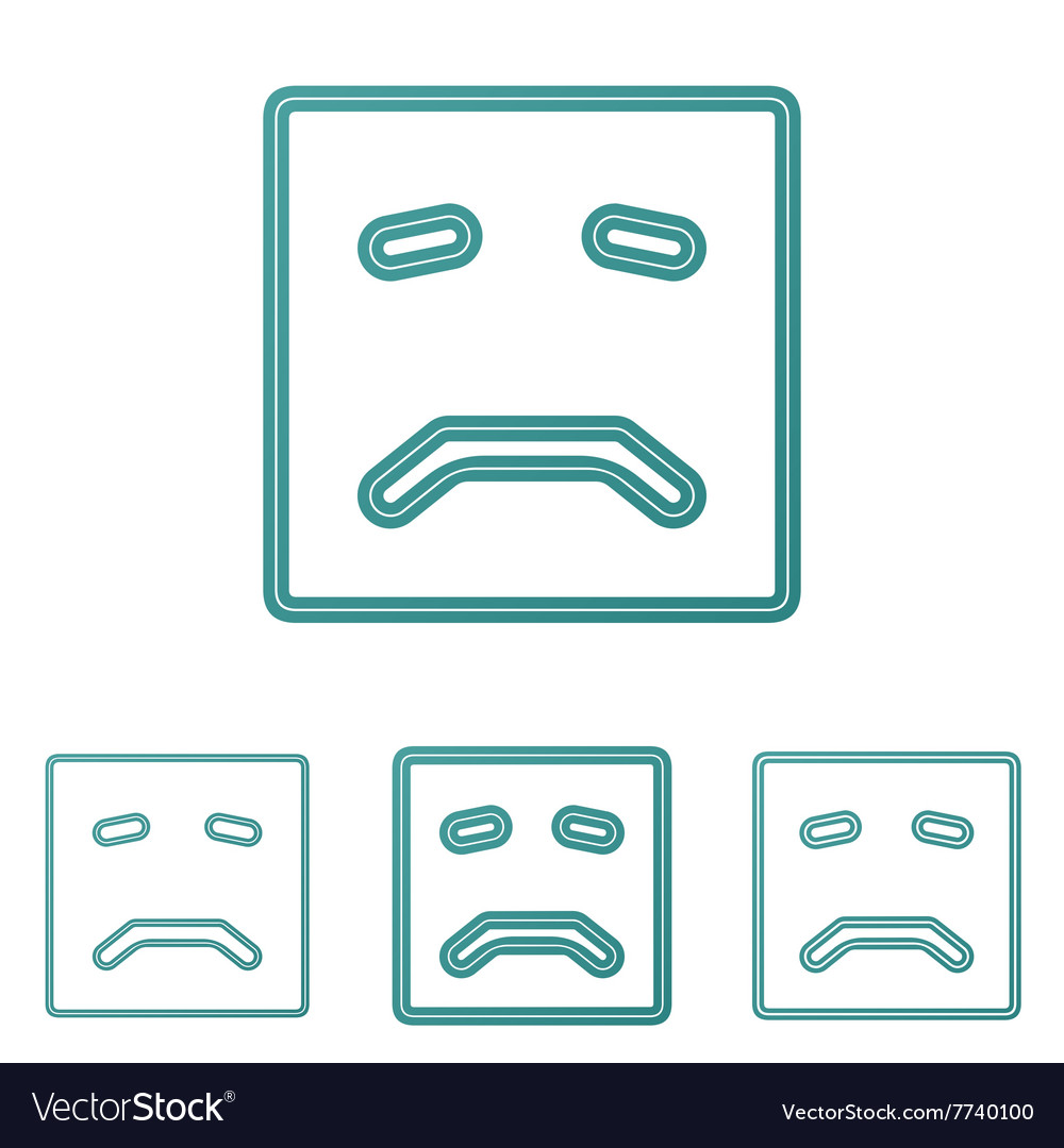 Teal line sad logo design set