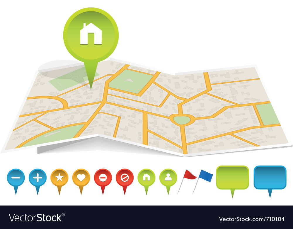 City map with labels vector