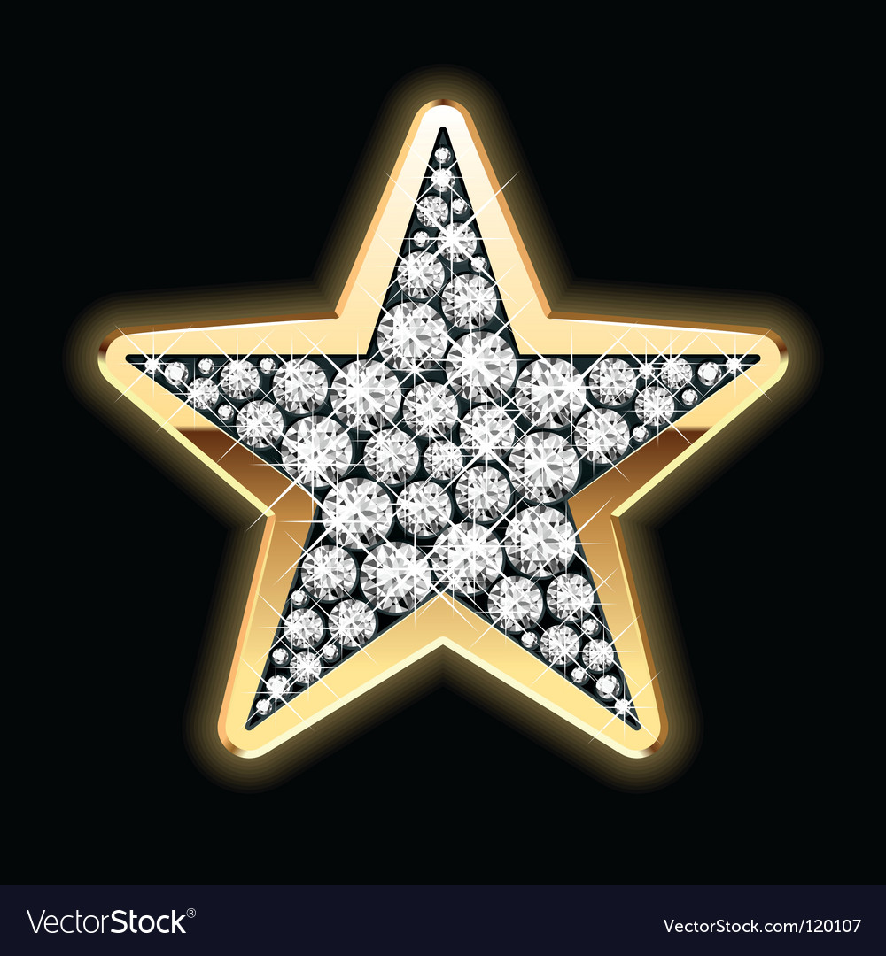 Star shape in diamonds vector