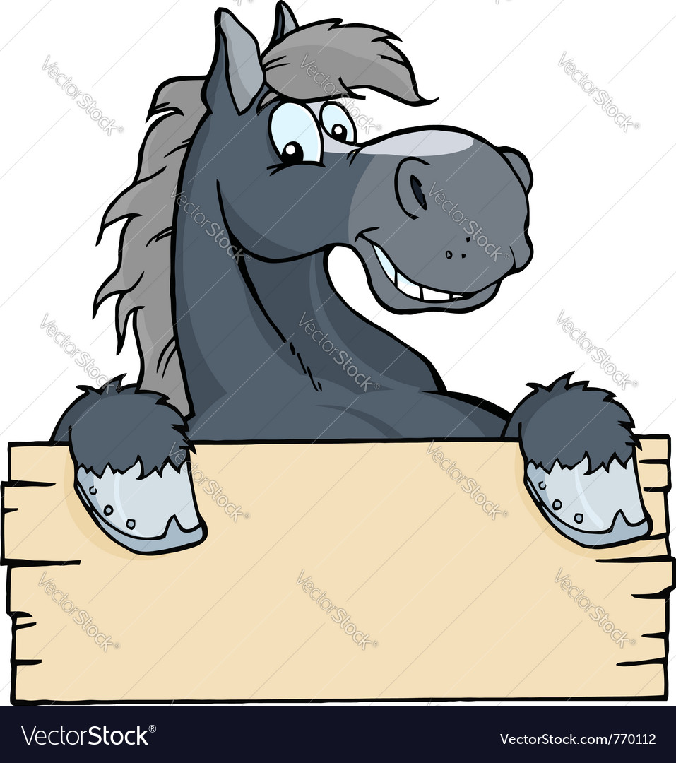 Cartoon horse label vector