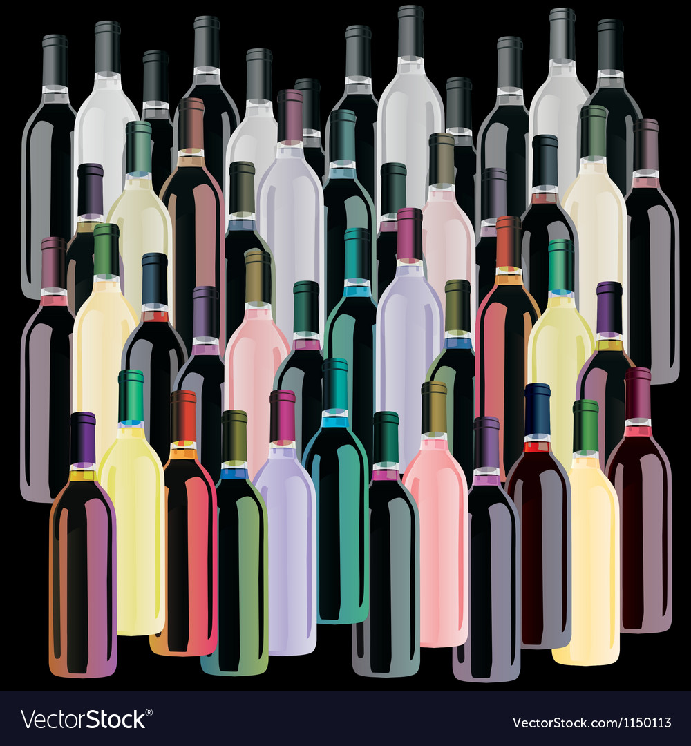 Colored wine bottles set vector