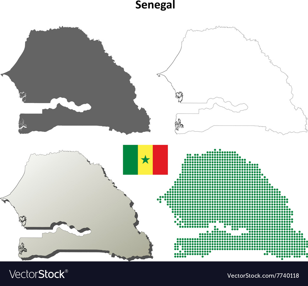 Senegal outline map set