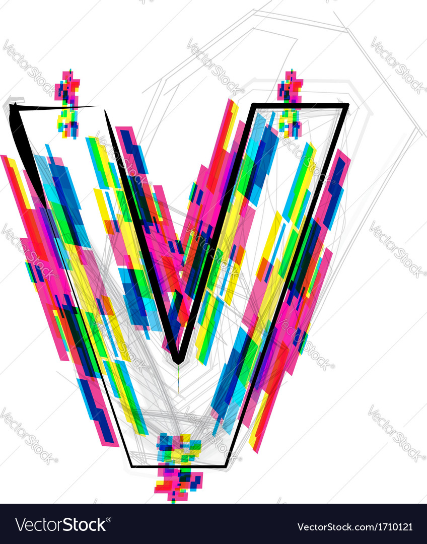 Colorful Letter V colorful font letter v vector by aroas - image ...