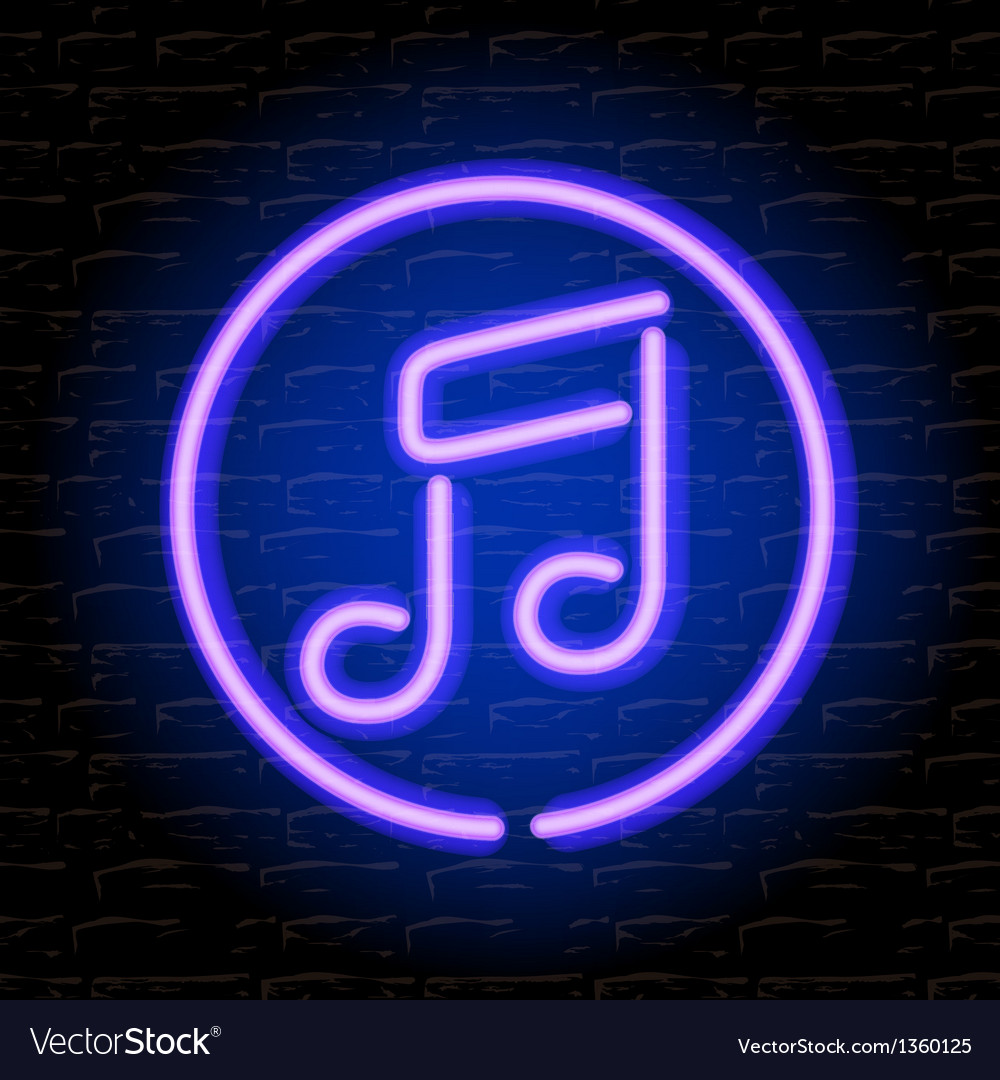 Neon music note on the brick wall vector