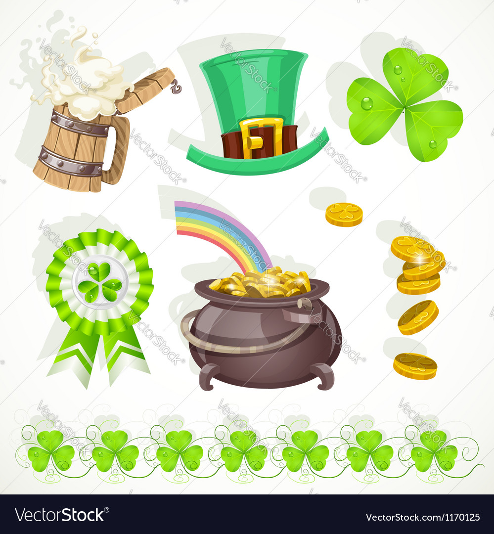 Saint patricks day elements set for design vector