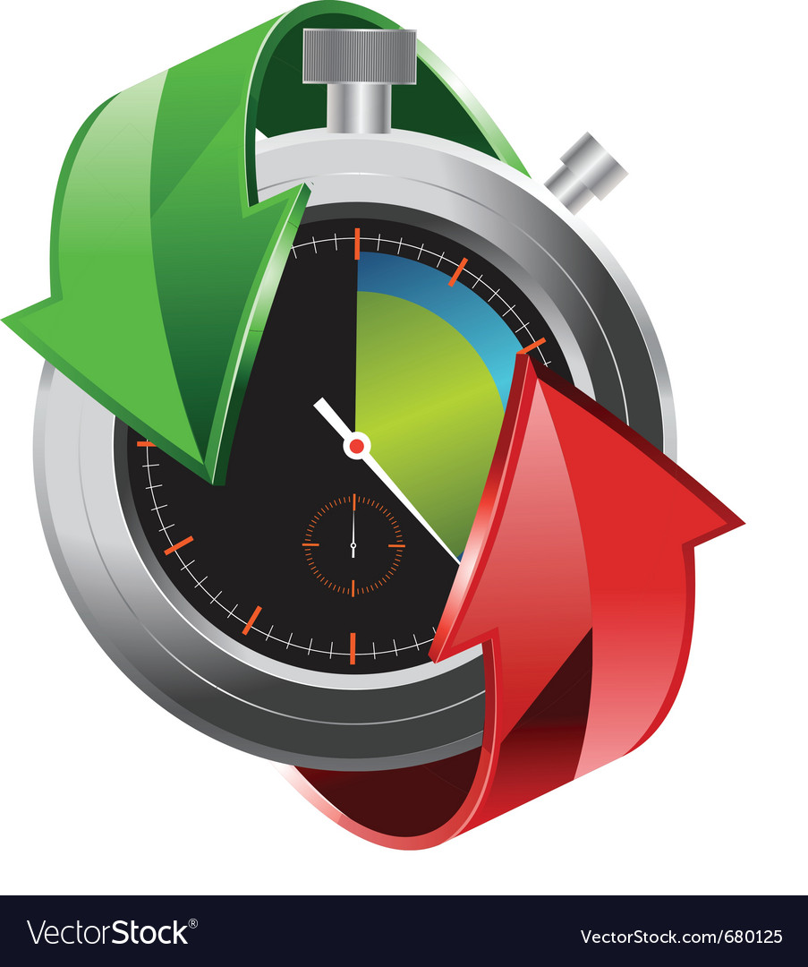 Stopwatch with colorful arrows vector