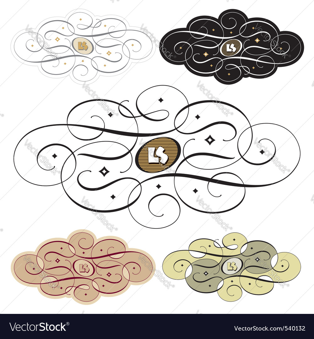 Calligraphic swirl set vector