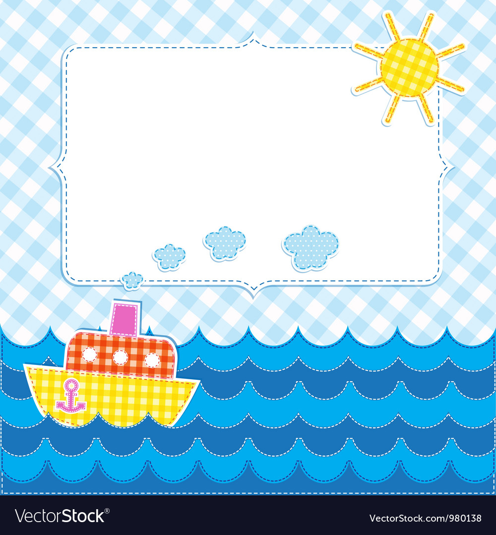 Frame with cartoon ship vector