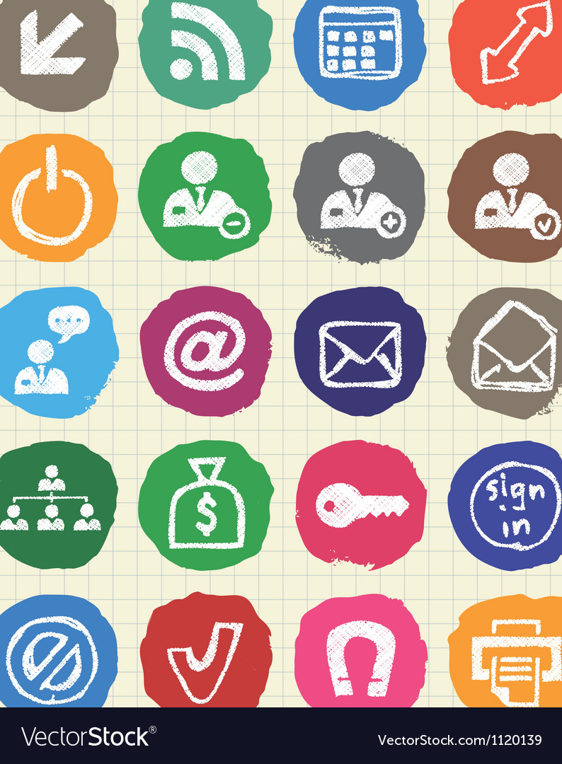 Doodle internet and finance icons set vector