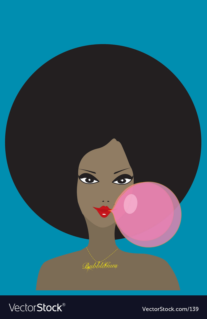 Free funky girl and bubble gum vector