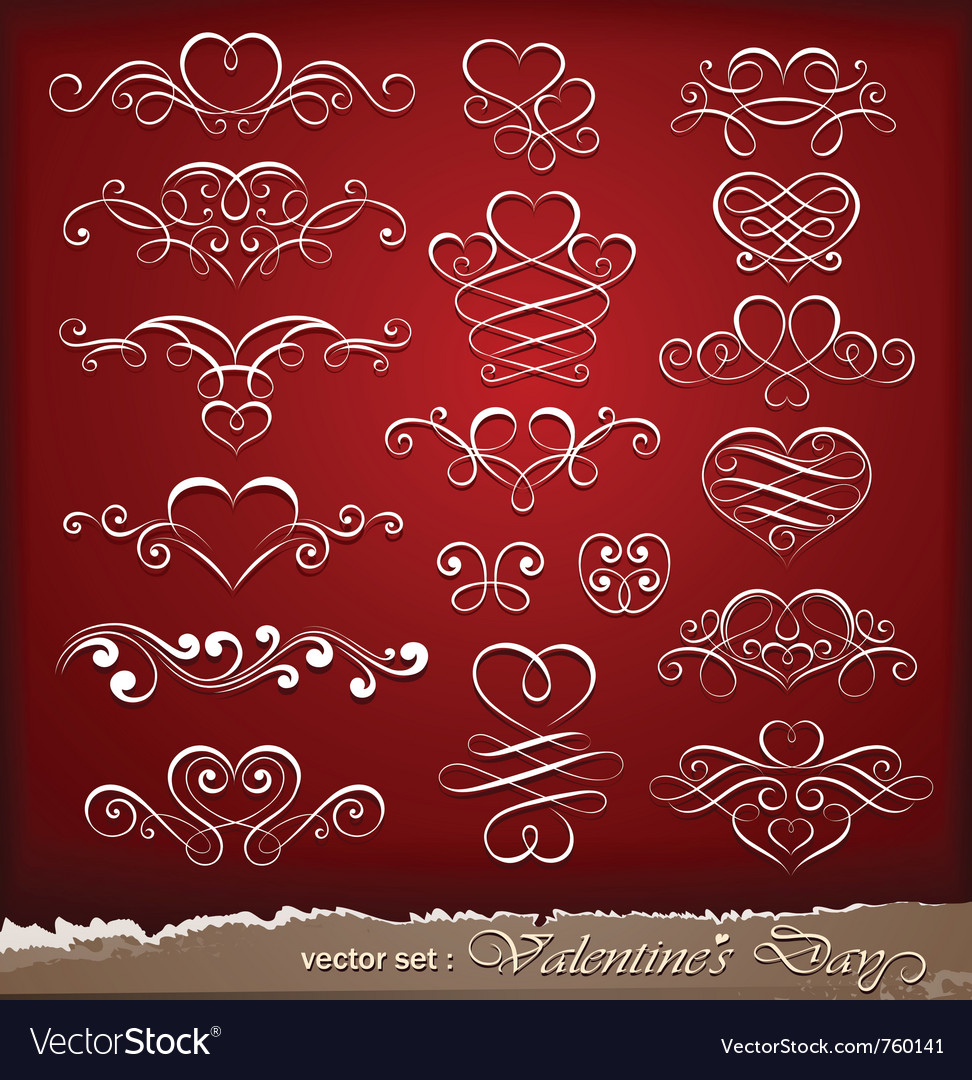 Decorative elements on valentines day vector