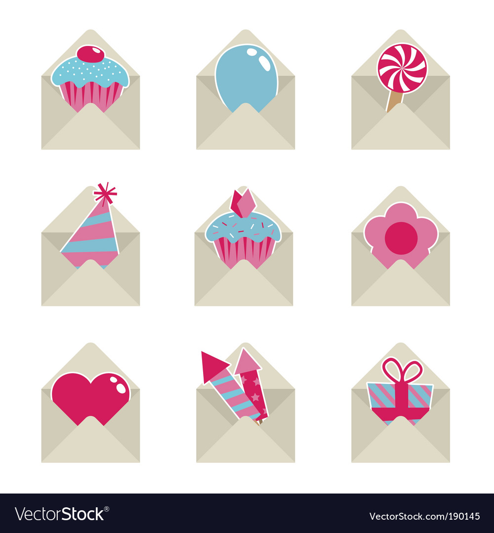 Mail party icons vector