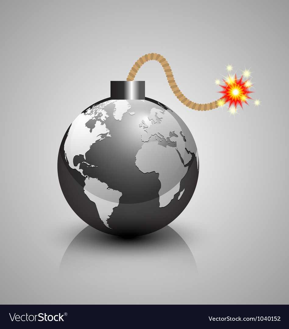 World crisis bomb icon vector