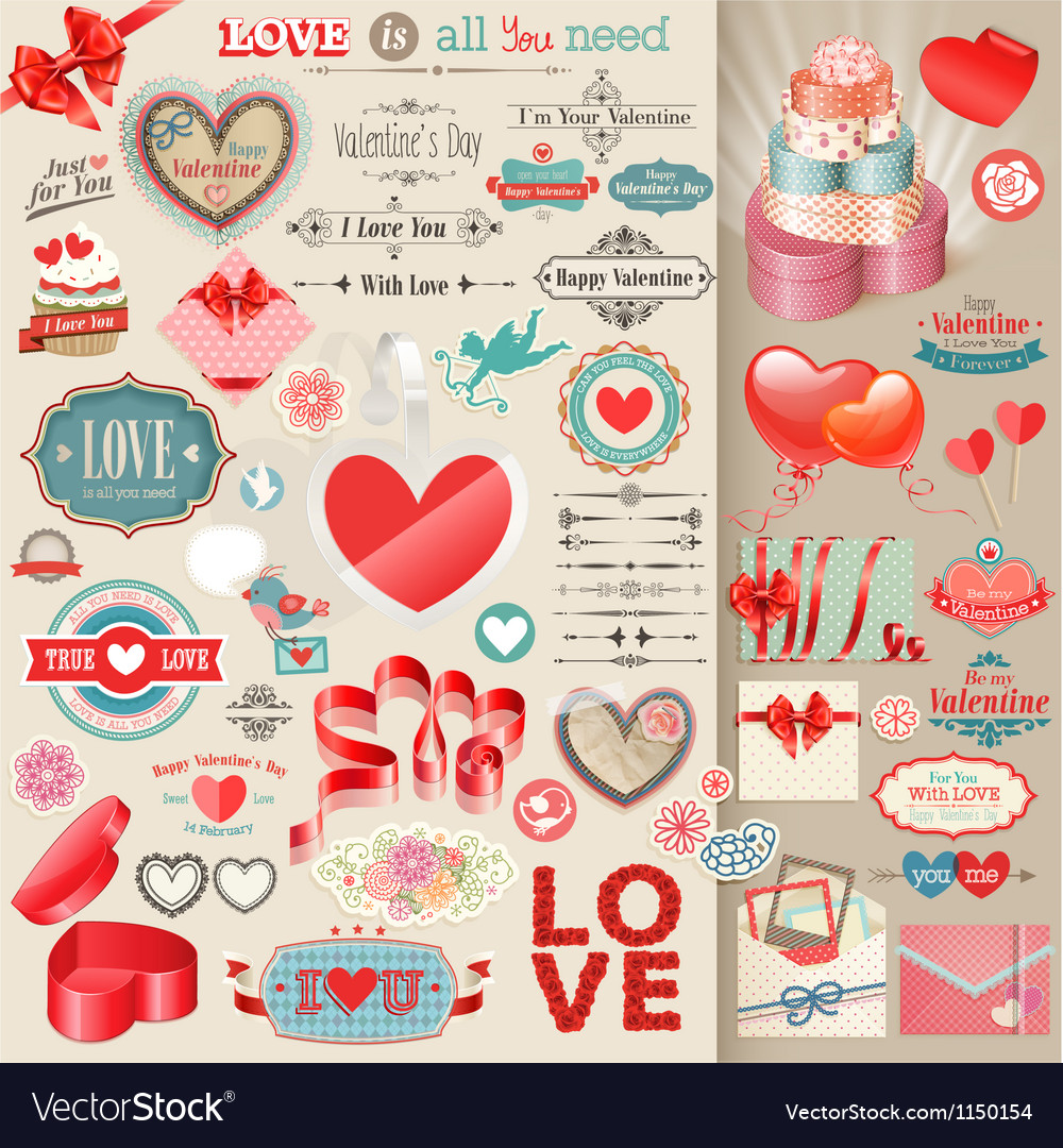 Valentines elements vector