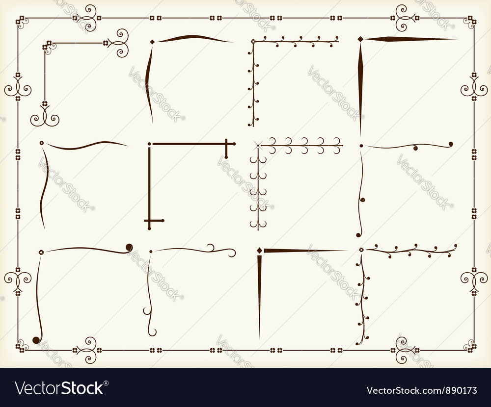 Vintage corner design elements vector