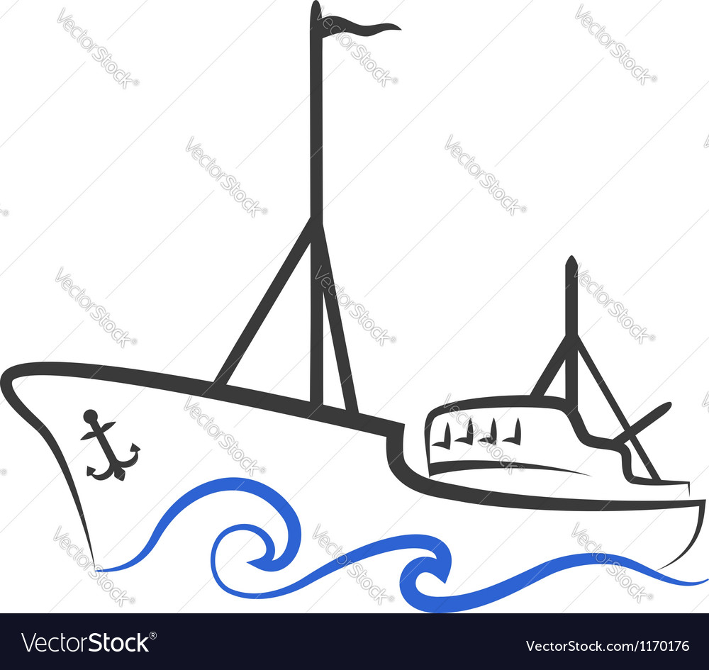 Fishing boat silhouette vector