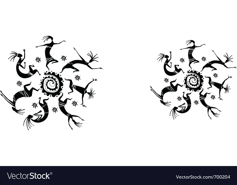Dancing figures in a circle vector