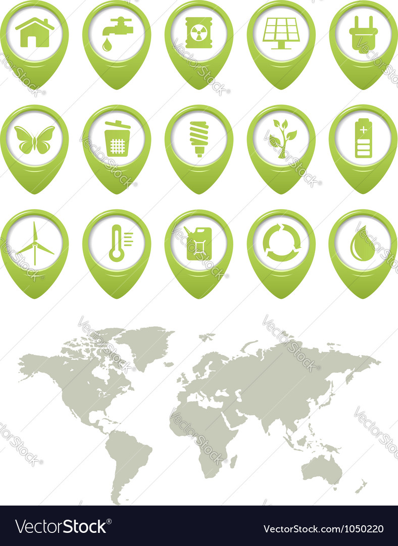 Ecology buttons set and world map vector