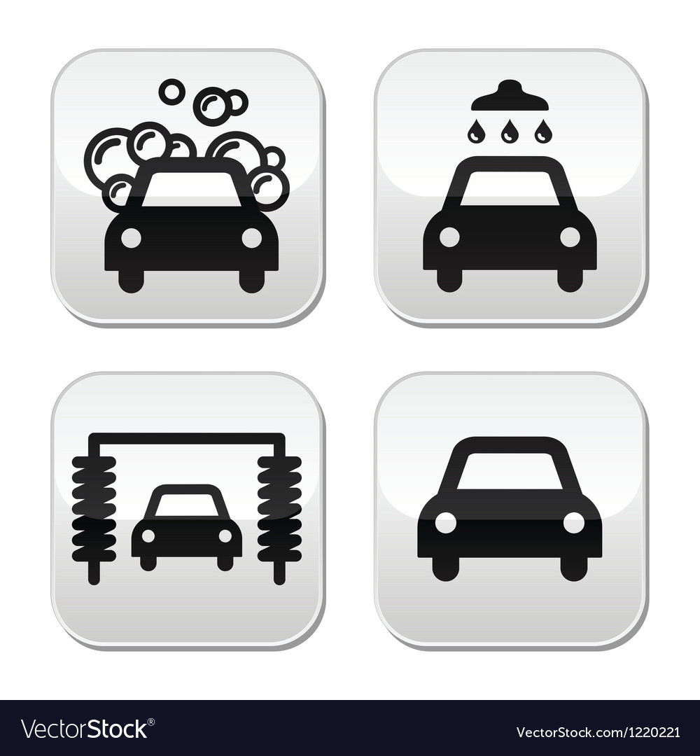 Car wash buttons set  vector