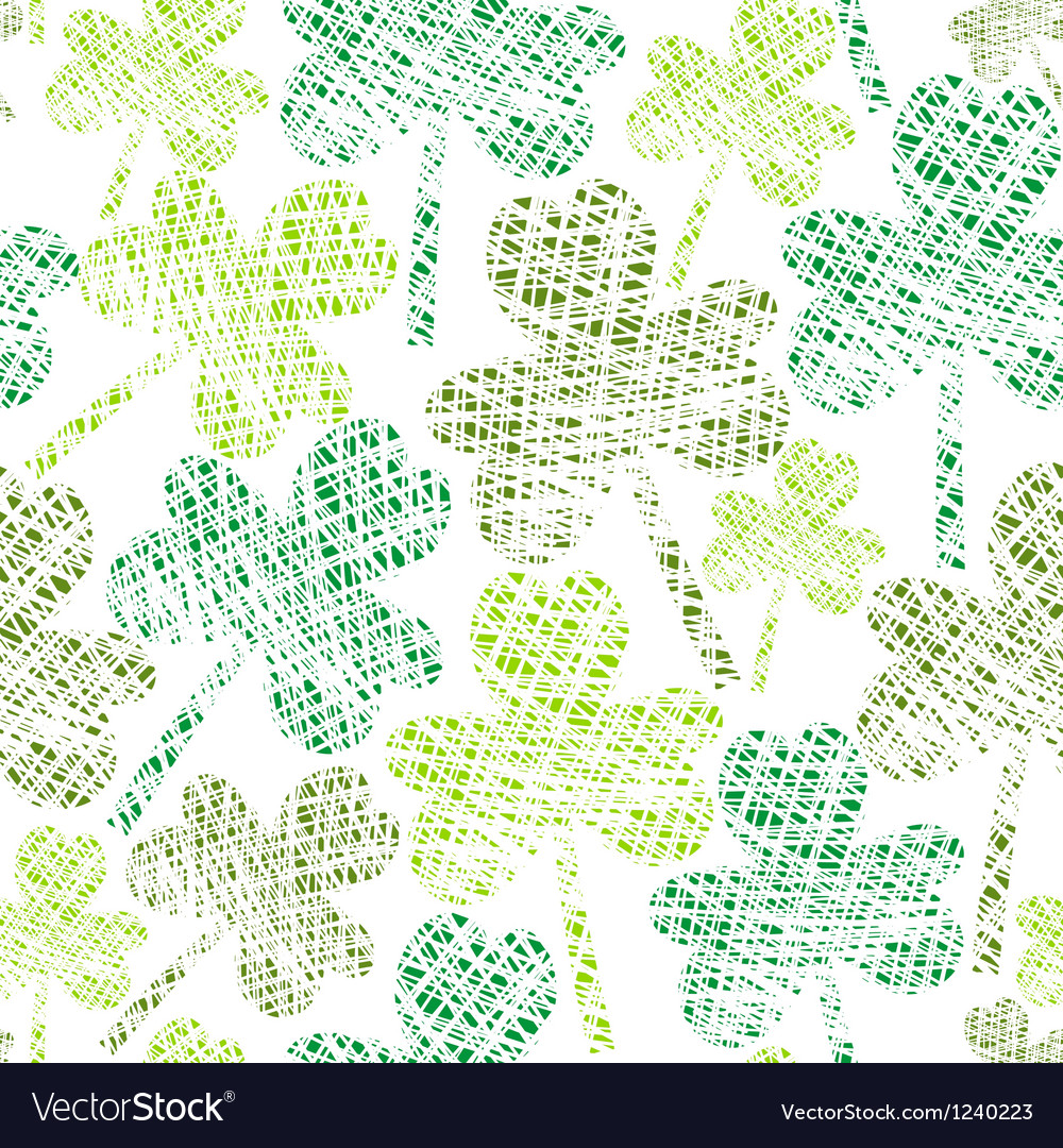 Vintage seamless clover pattern vector