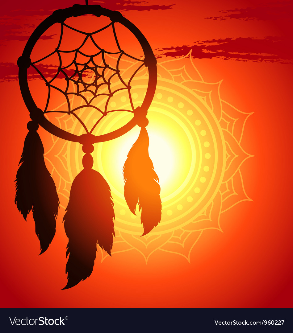 Dream catcher silhouette of a feather vector