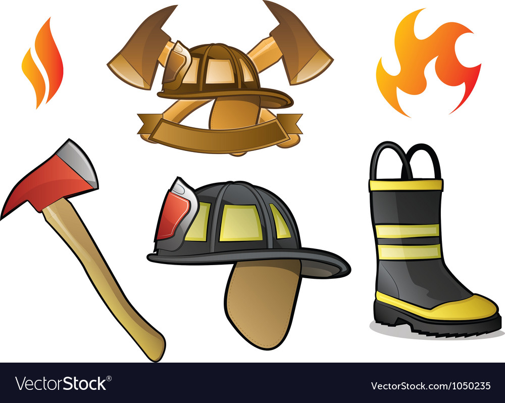 Firefighter icons and fire symbols vector