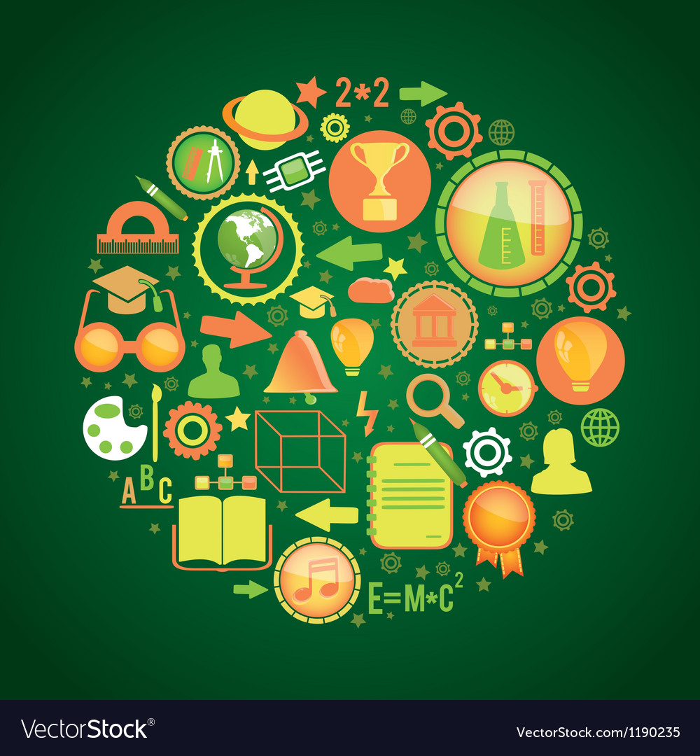 Round concept with education science icons vector