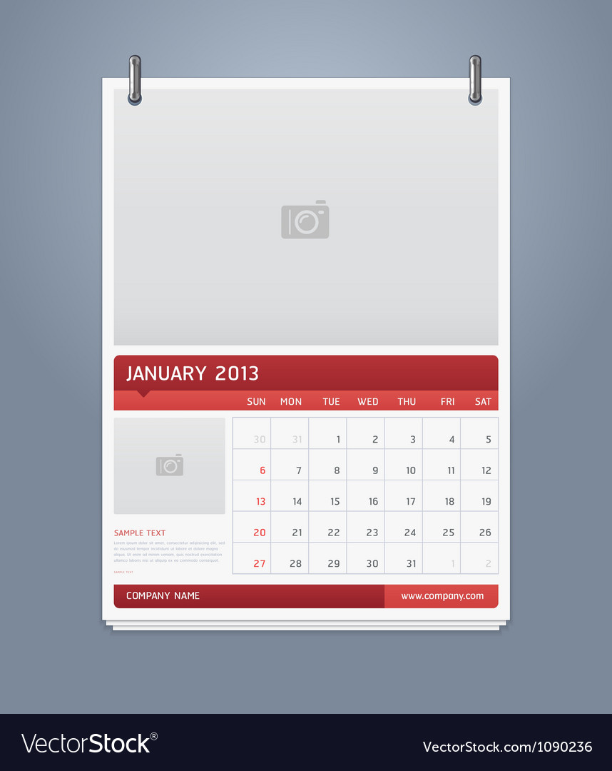 Clean calendar 2013 template design vector