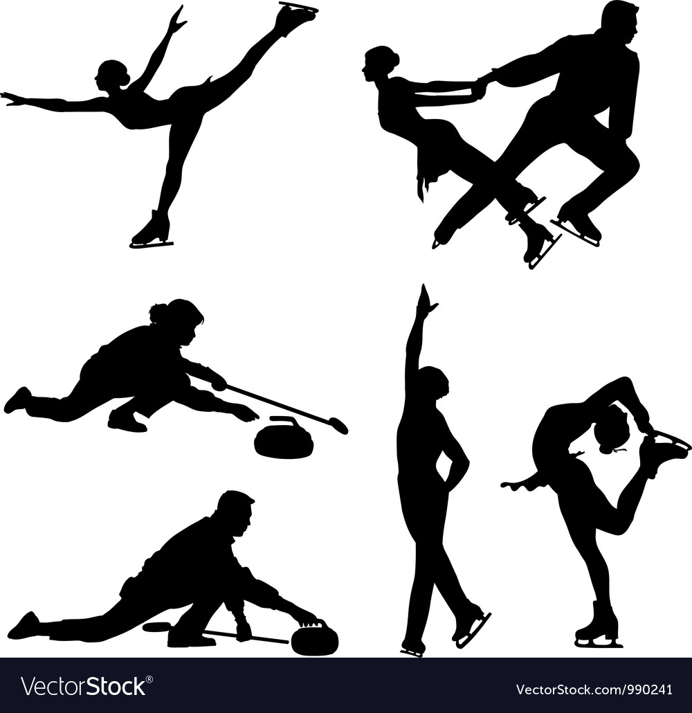Sports on ice black icon set vector