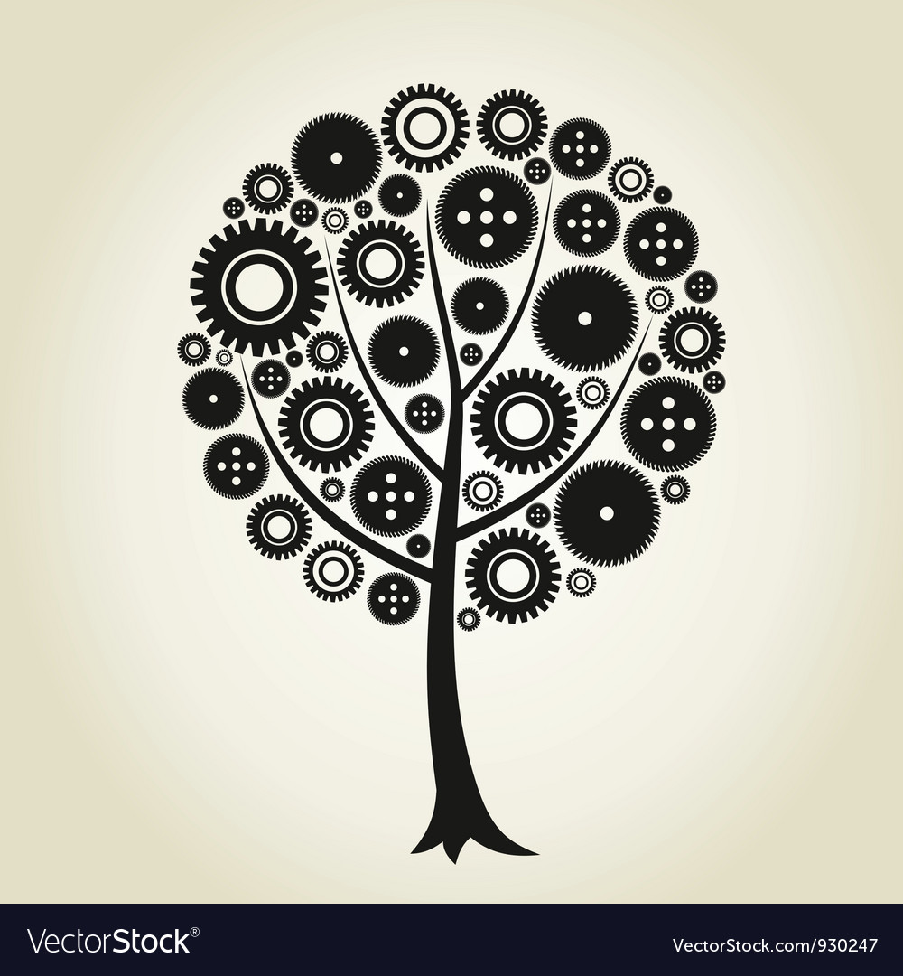 Tree a gear wheel vector