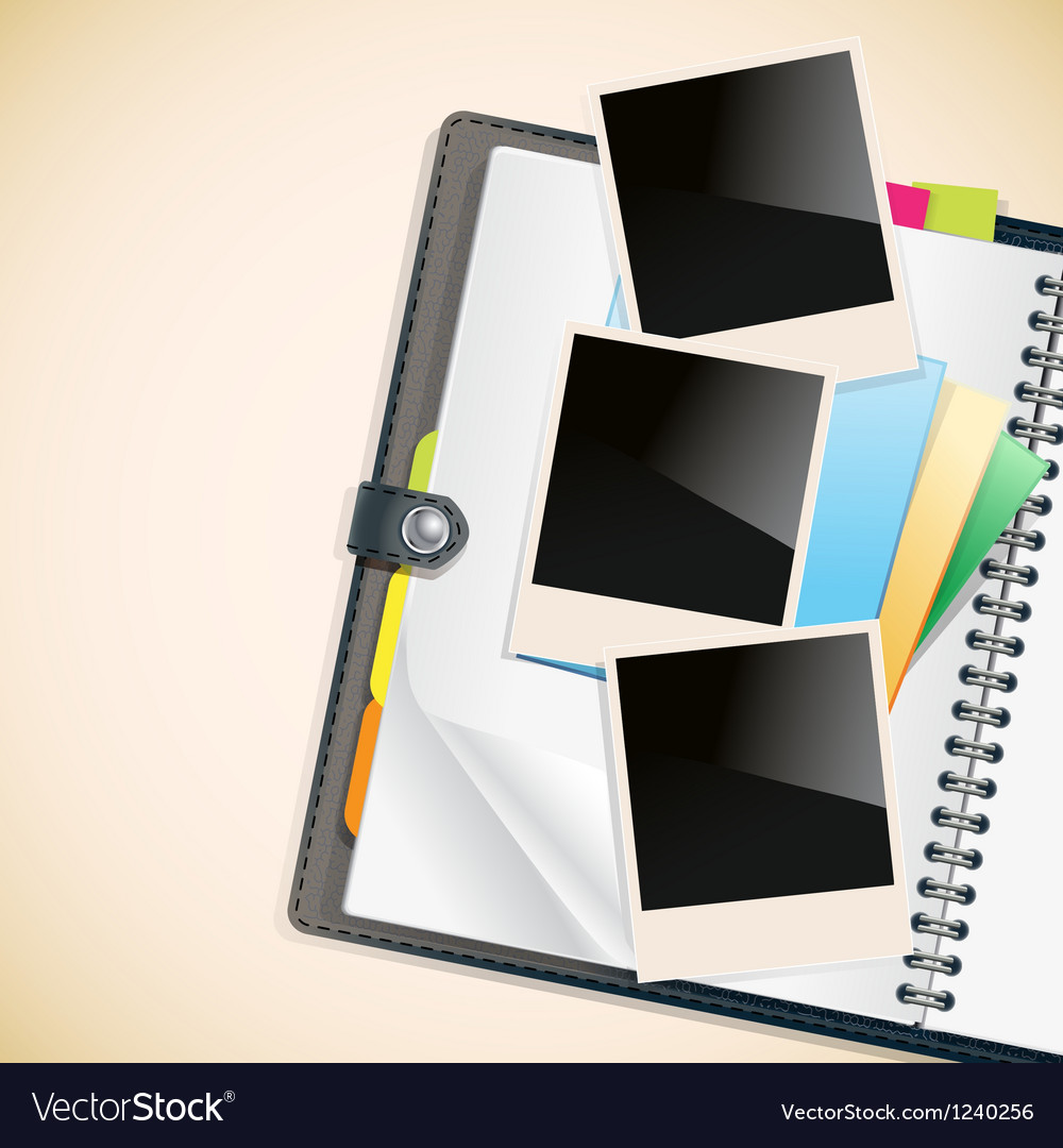 Photos on a diary vector