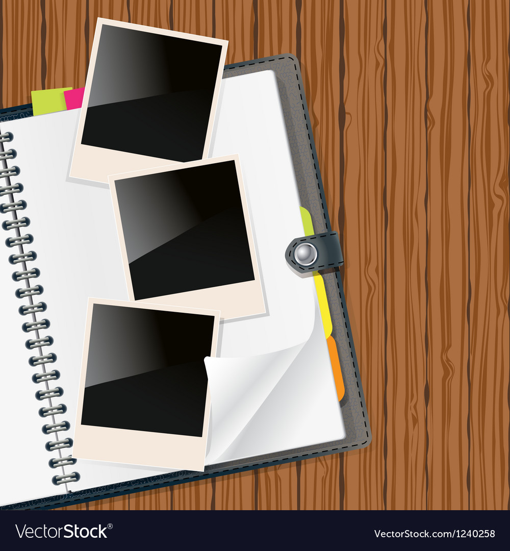 Photos on diary vector