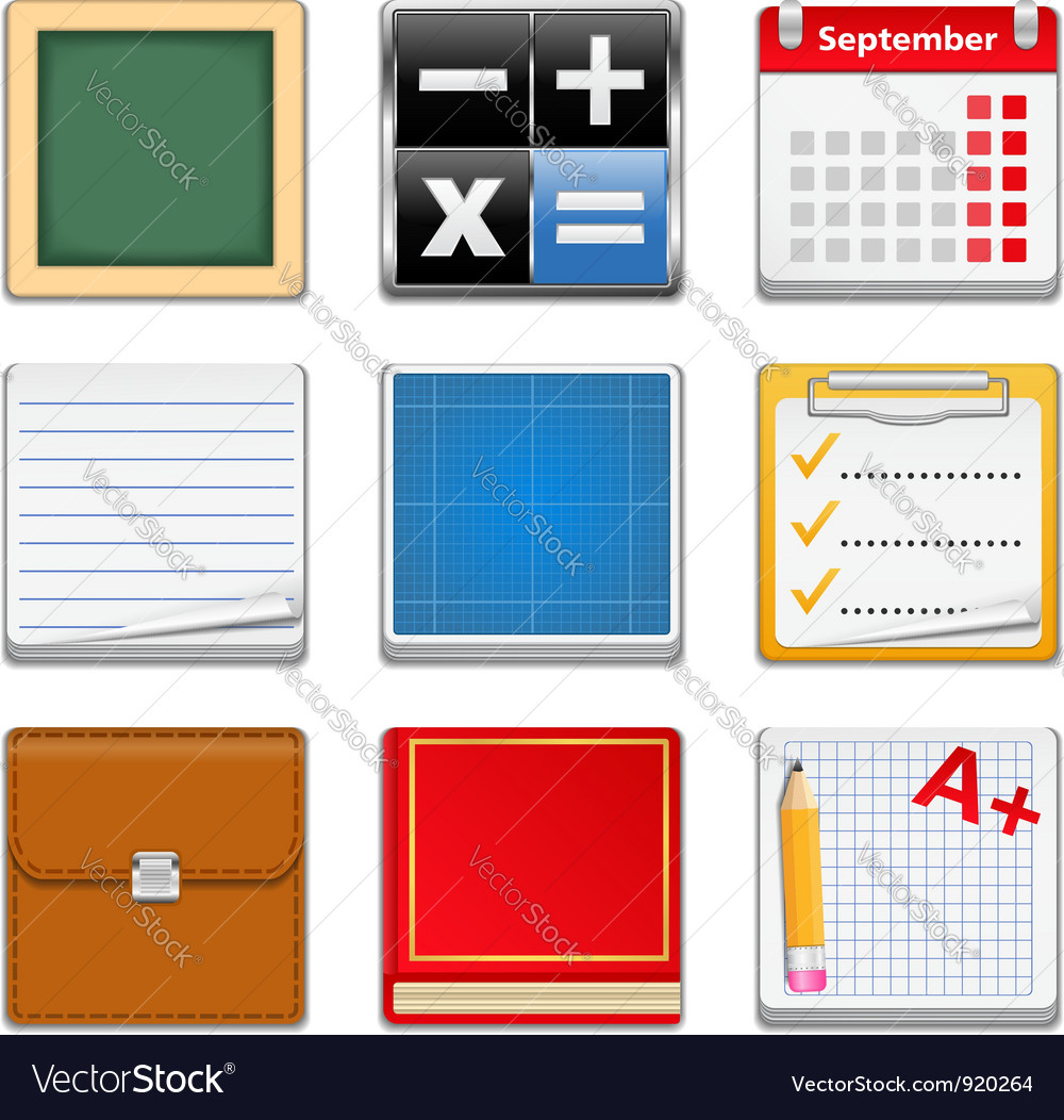 Education square icons vector