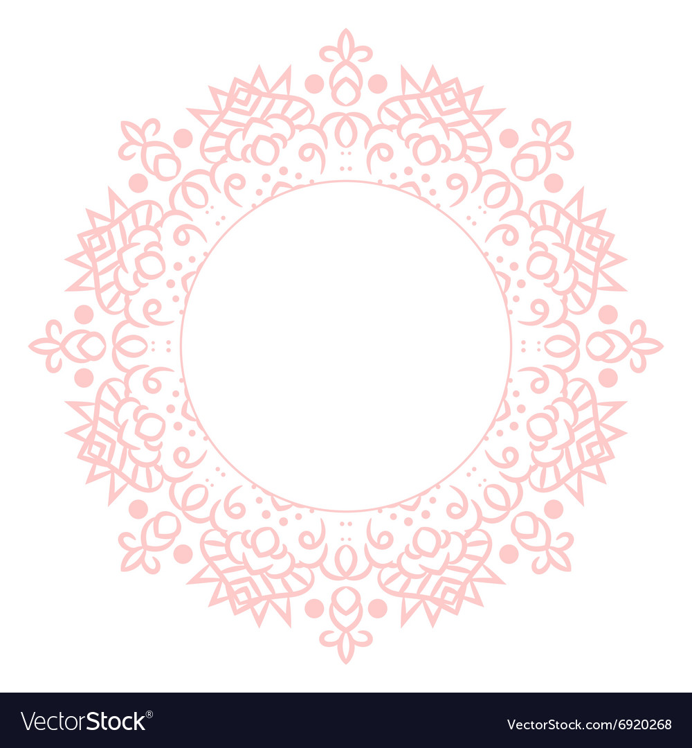 Baby pink mandala circle rosette card template vector by inides ...