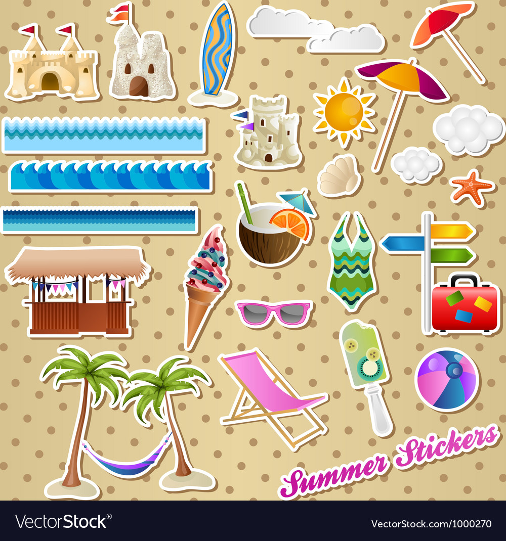 Summer stickers vector