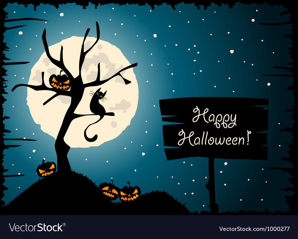 Halloween tree cat moon vector