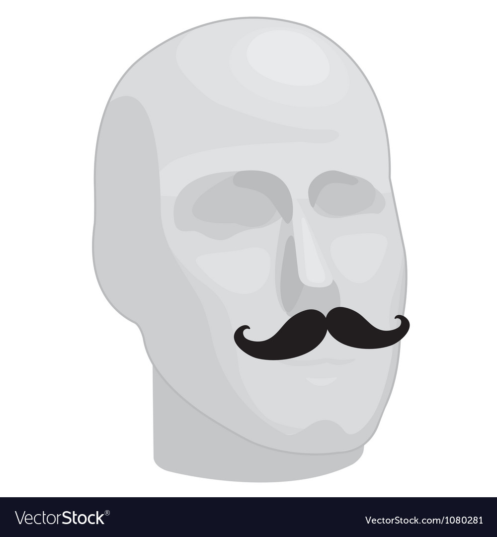 Male head with mustache vector