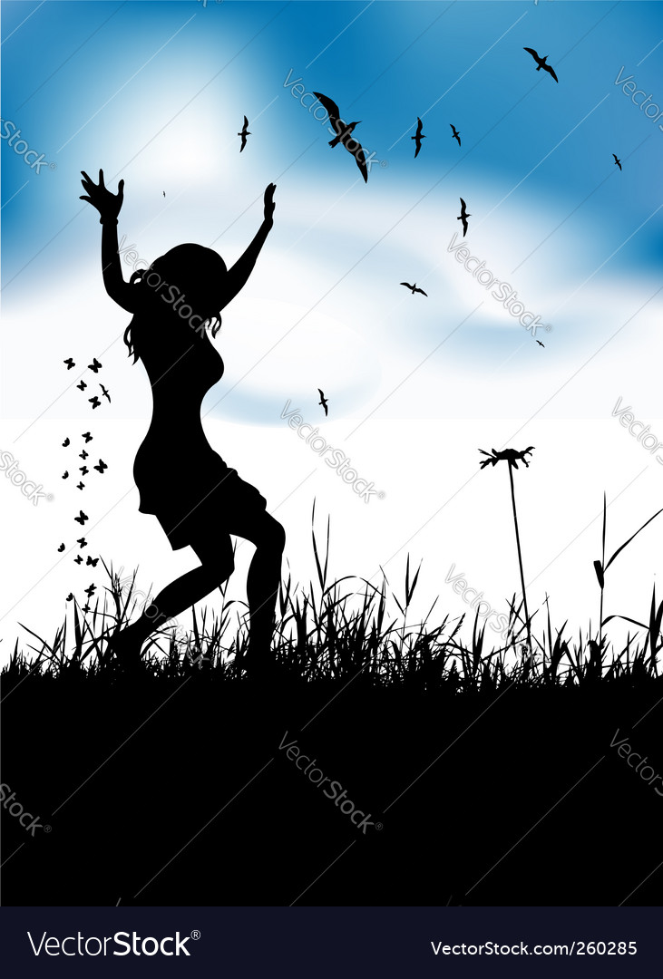 Girl dancing in meadow vector