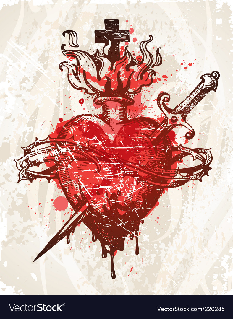 Grunge hand drawn heart vector