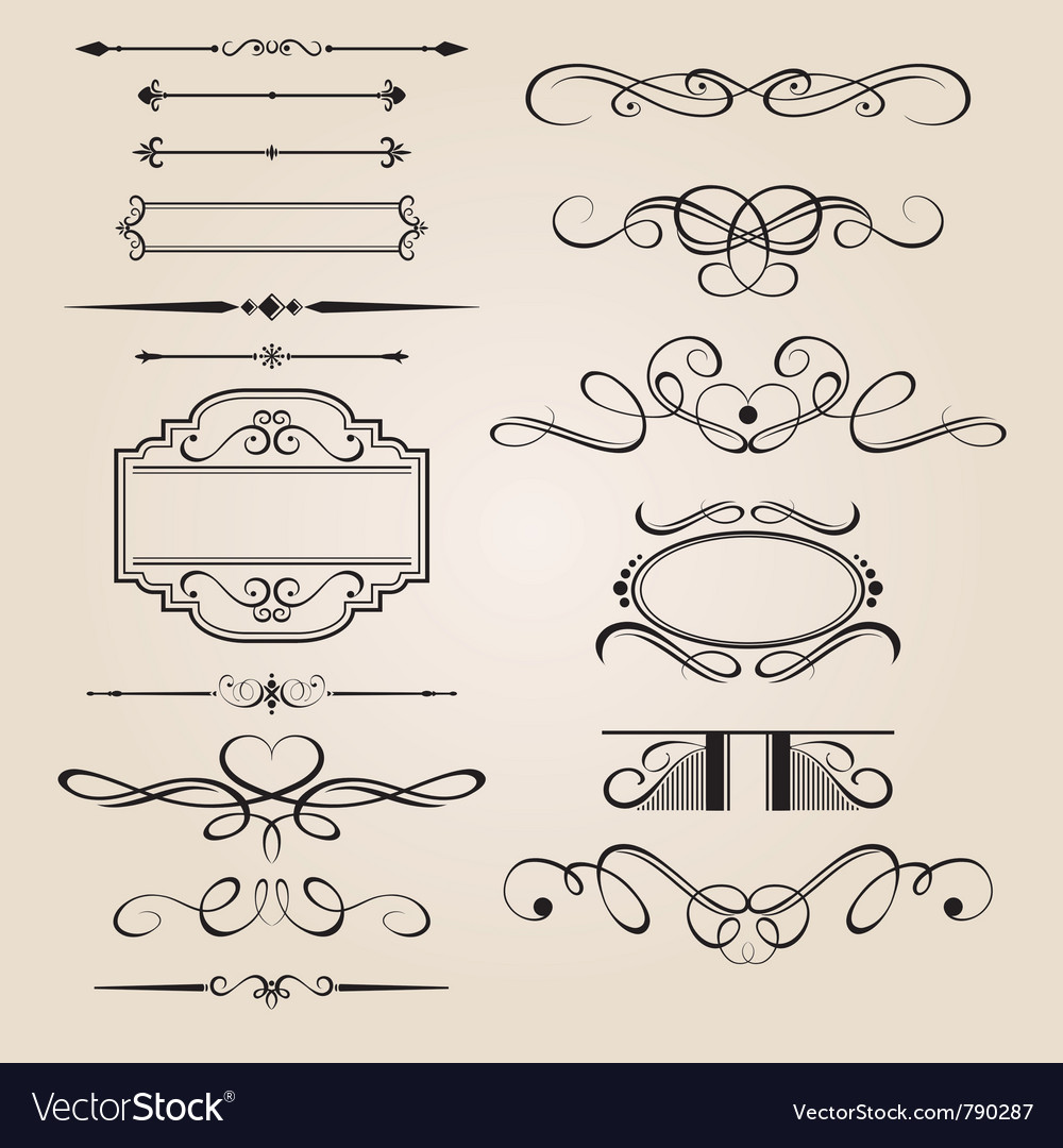 Set border design element vector