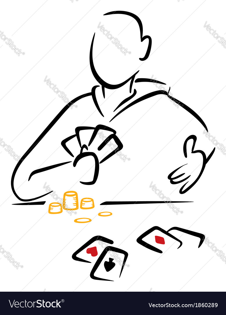 Gambler with cards vector