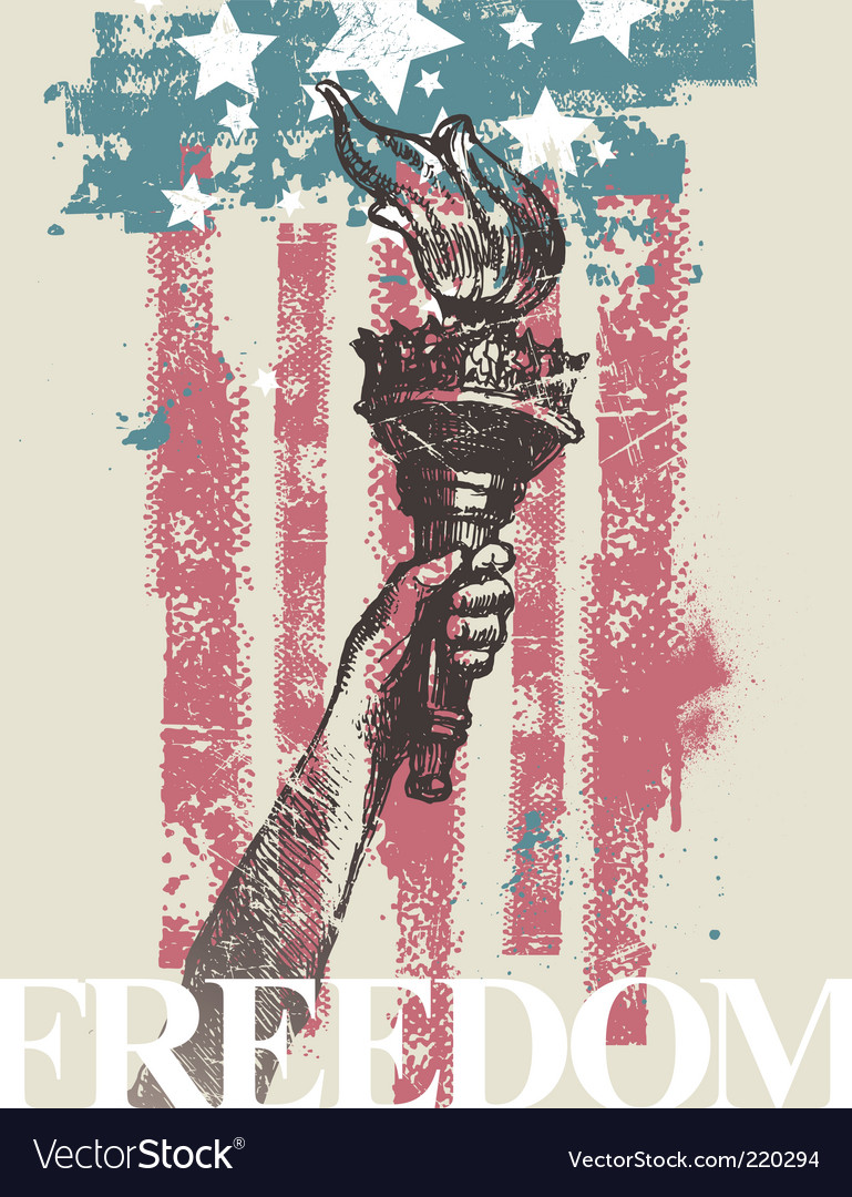 Hand of freedom with torch vector