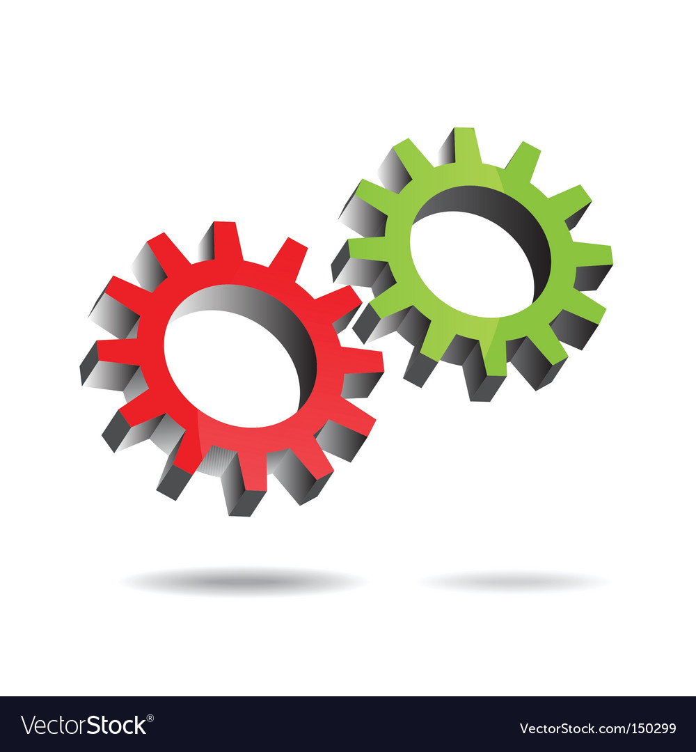 Gears turning vector