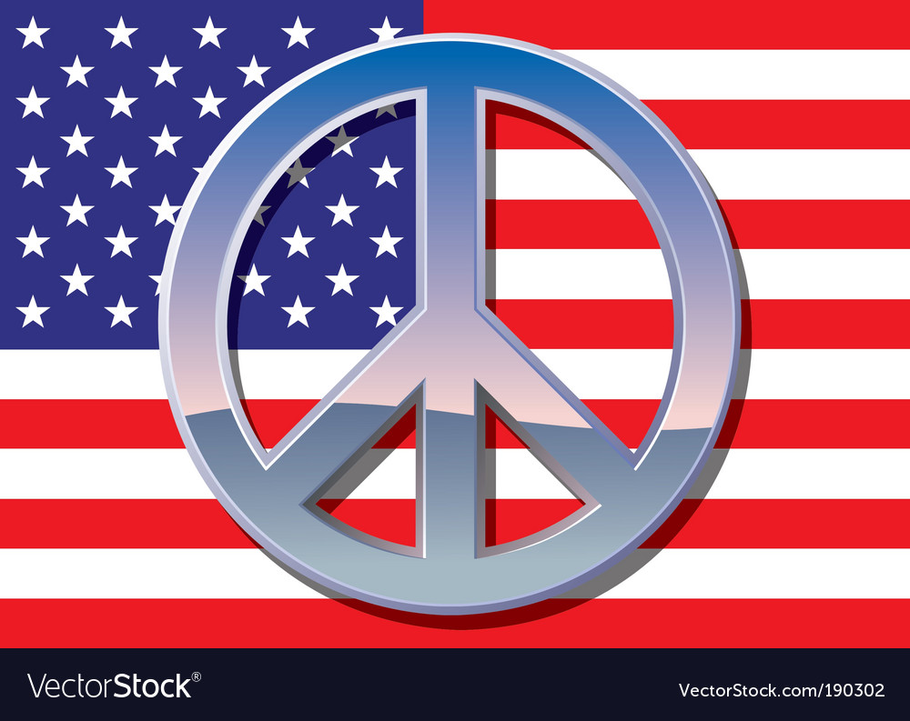 American flag with peace sign vector