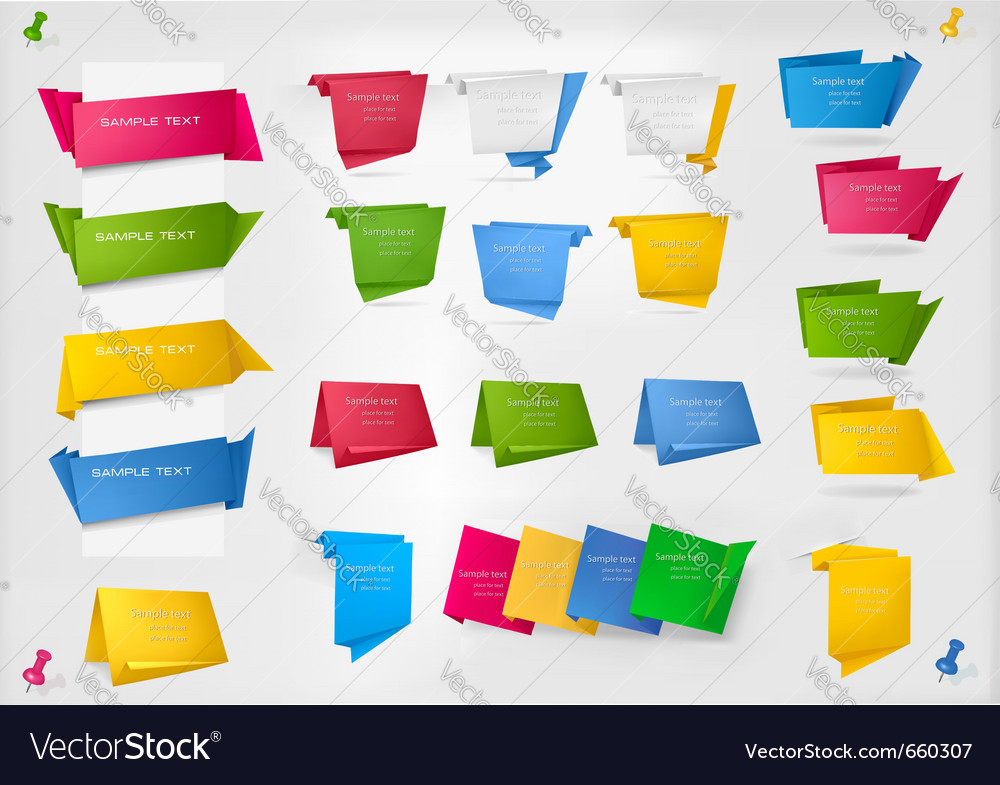 Huge set of colorful origami paper banners vector