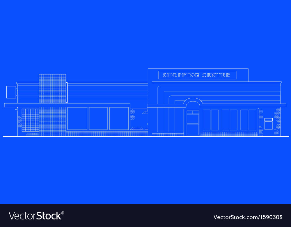 Shopping center building front vector