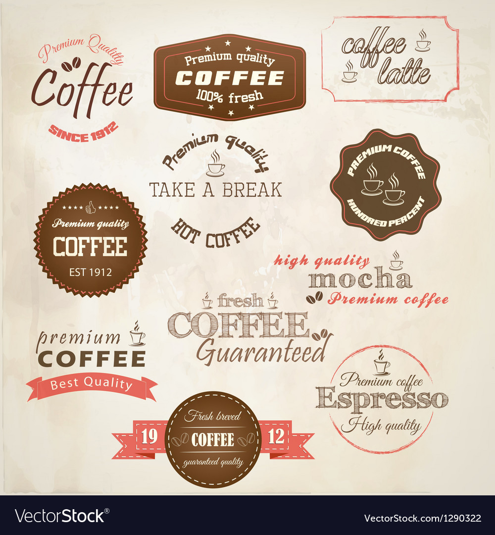 Retro styled coffee labels vector