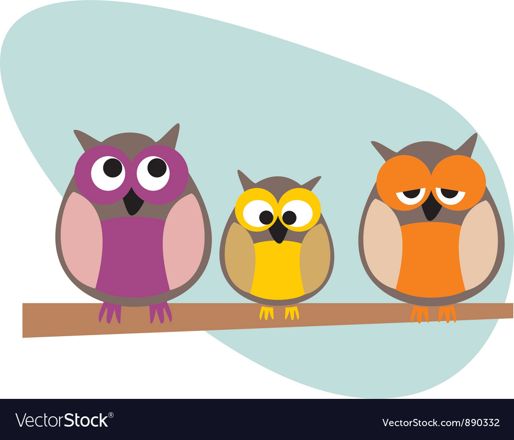 Funny owls family vector