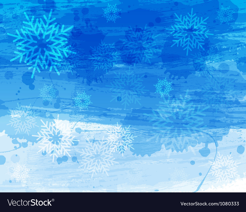 Blue christmas watercolor background vector