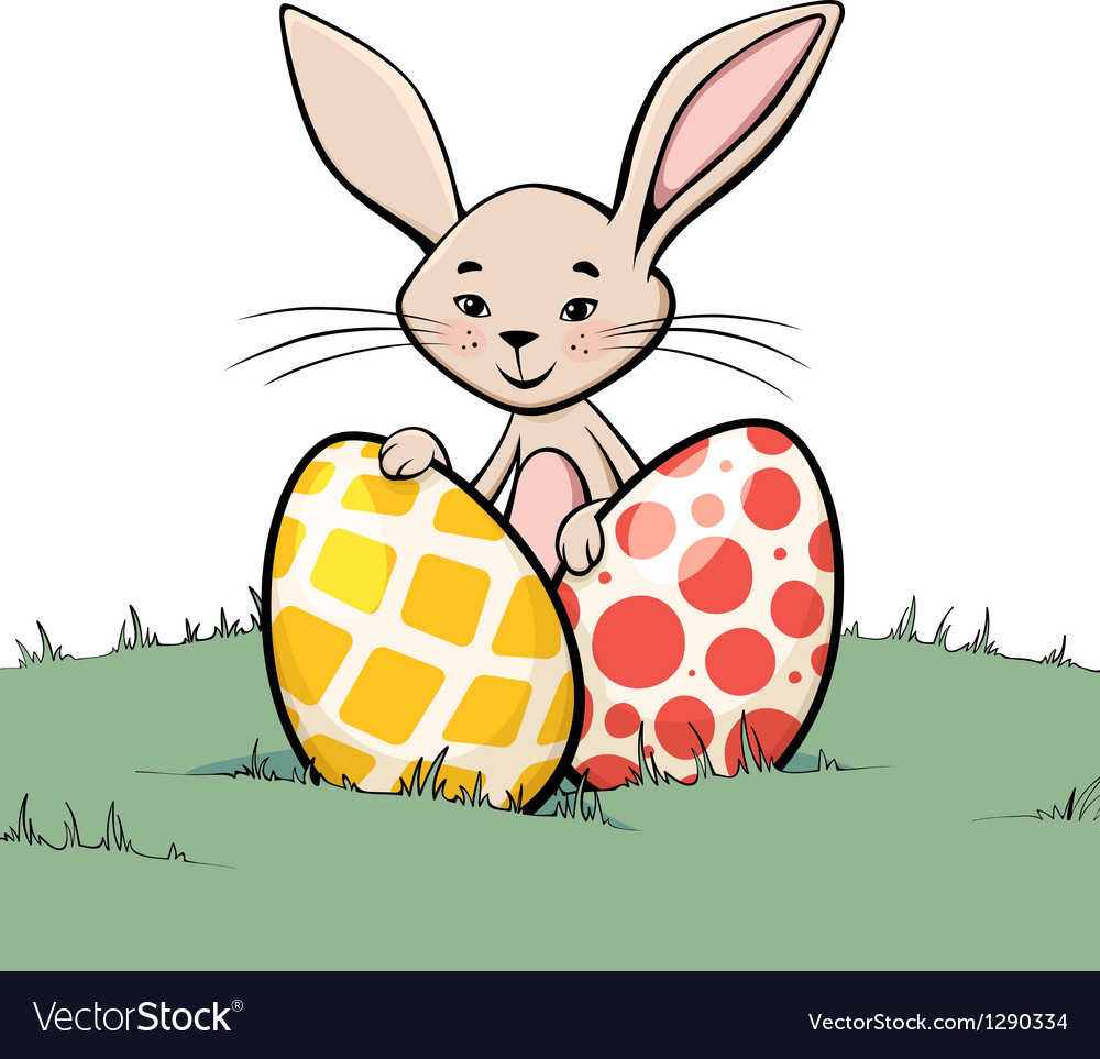 Bunny with two easter eggs vector